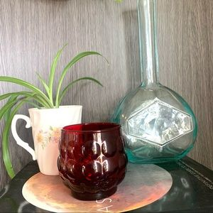 Vintage 60's Ruby Red Bubble Glass